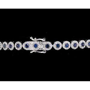 Ceylon Sapphire Tennis Bracelet 12 Carats Women Je